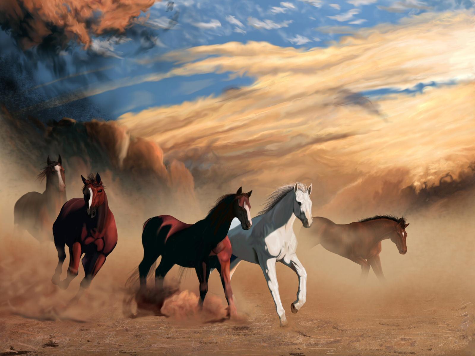 peinture chevaux wallpaper - photo #5